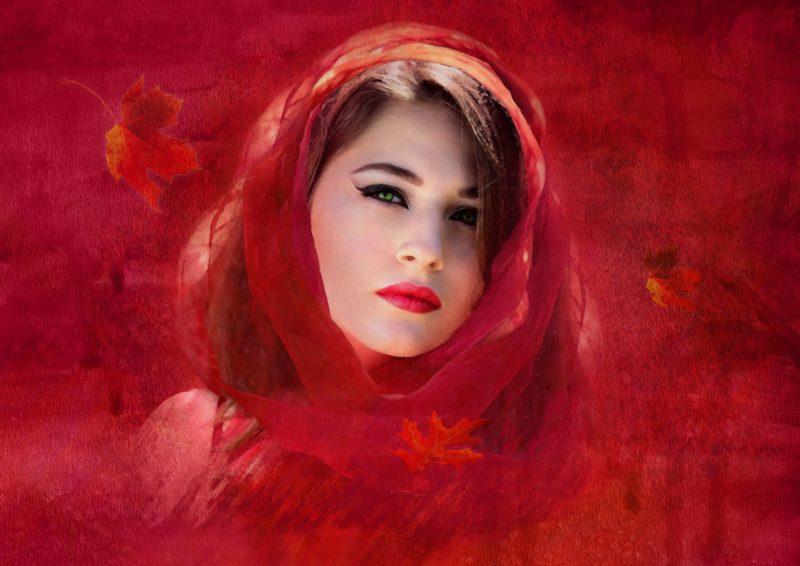 赤い肌の女性