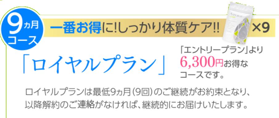 アセカラット9カ月(6300円お得なコース)