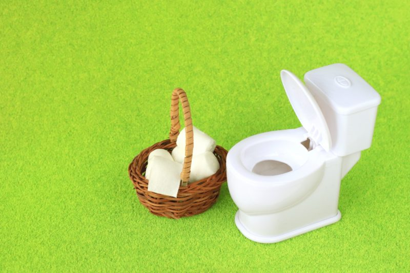 草原にトイレ