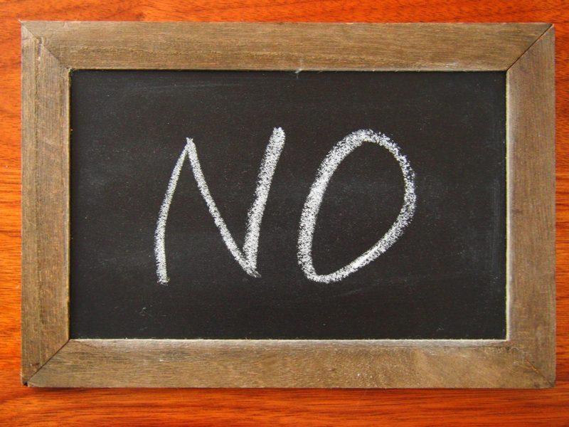 NOと書いてあるミニボード