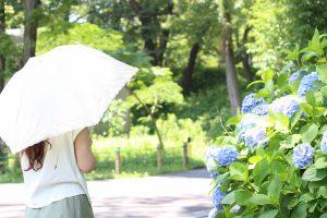 白い日傘を差している女性