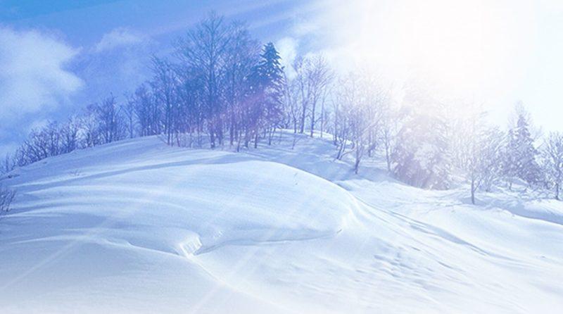 雪に降り注ぐ太陽光