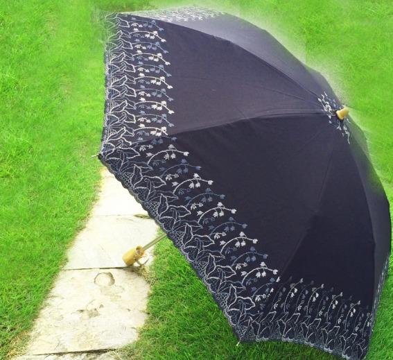 芝生の上で置かれている黒い日傘
