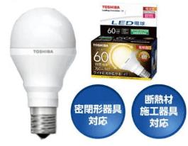 東芝のLED電球ミニクリプトン形広配光タイプ小形電球60w形相当
