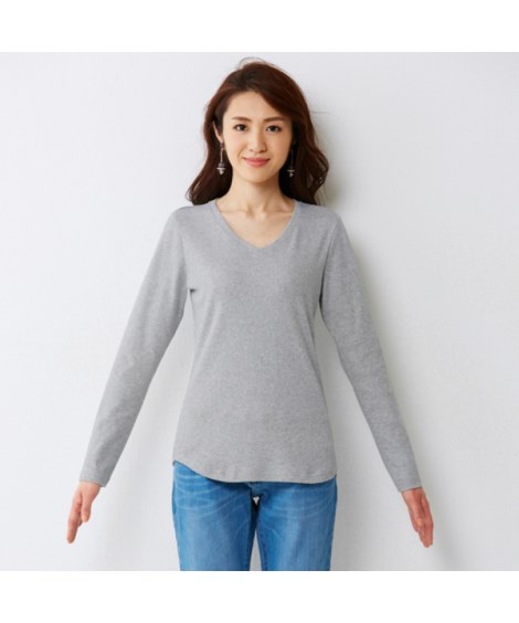 UVカット 綿100%フライス素材Vネック長袖Tシャツ