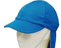 青のUVネックガード付き帽子