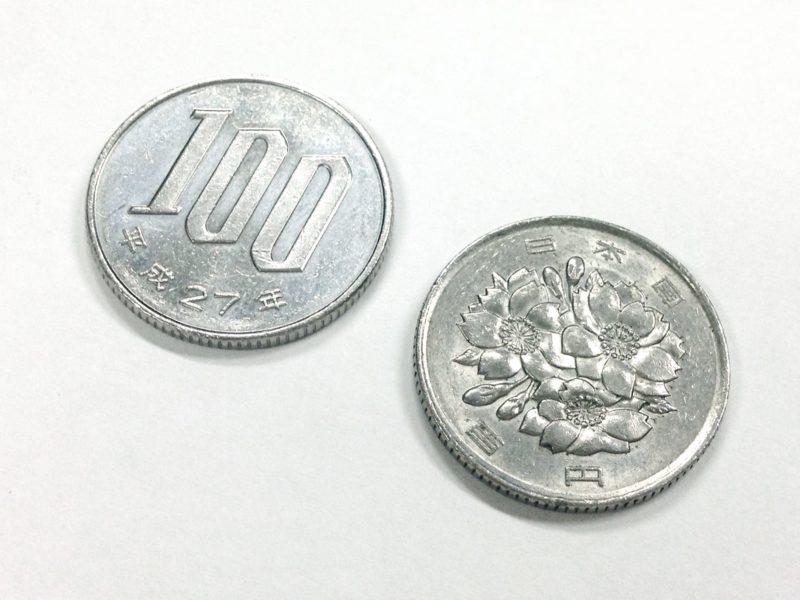 100円玉が2枚ある写真