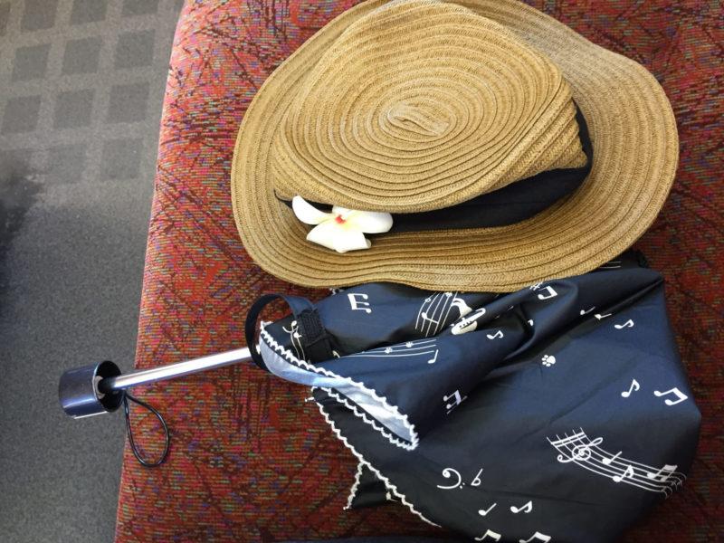 麦わら帽子と音符が描かれている日傘の画像