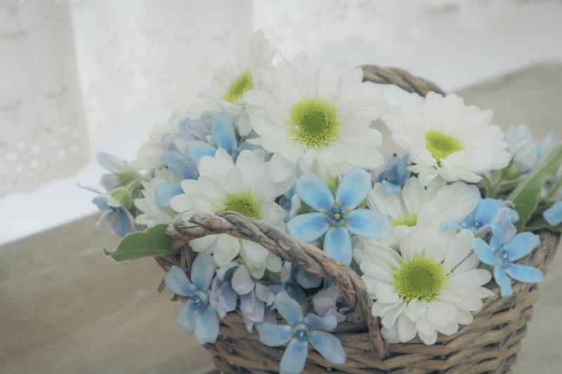 カゴに入れられている白と青のお花