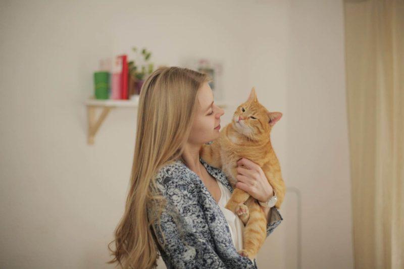 猫を抱いている女性