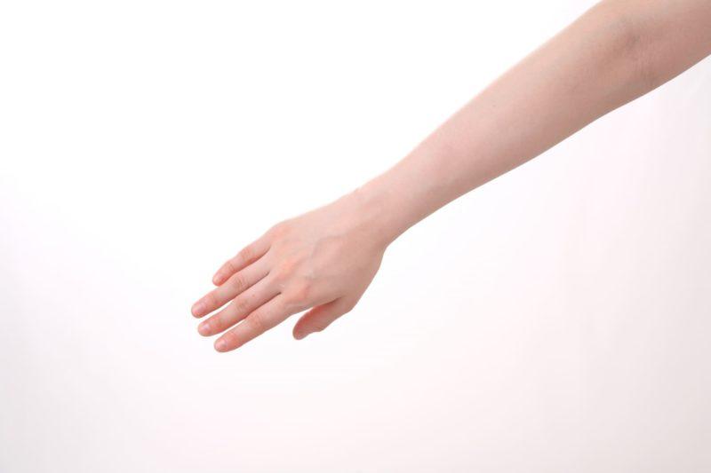 スッと伸ばしたきれいな長い右腕