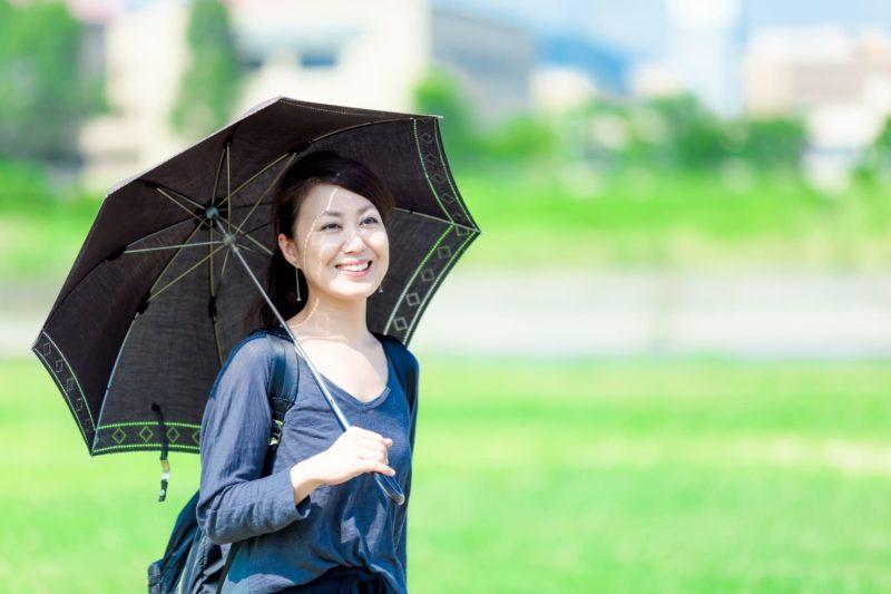 黒い日傘で日焼け対策をする女性
