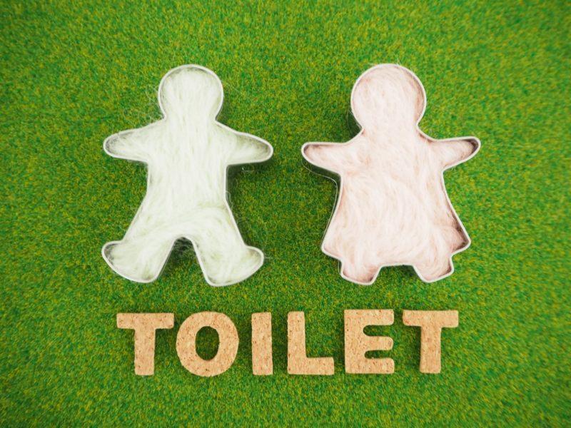 緑のタイルに男の子と女の子の白い人形が置かれているトイレマーク