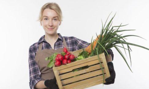 採れたての自家製野菜をたくさん持っていて満足そうな女性