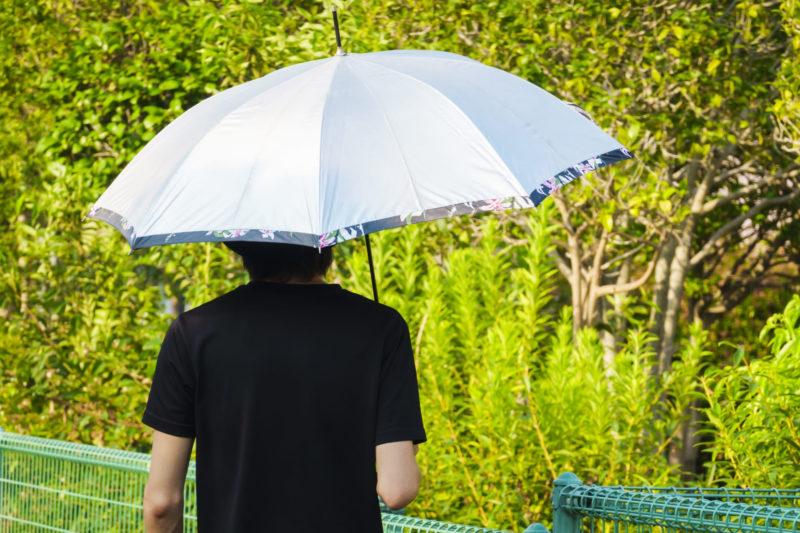 日傘をさす黒いTシャツの男性の後ろ姿