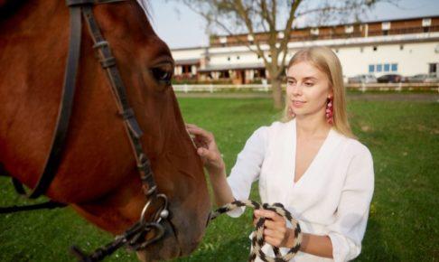 馬のお世話をして気持ちが通い合っている女性